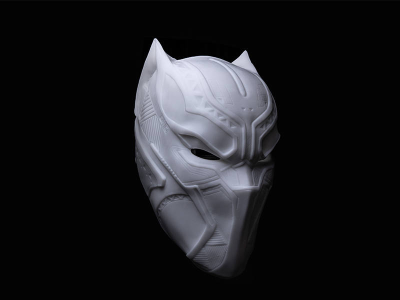 White SLA 3D Printing Black Panther